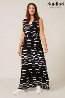 Studio 8 Black Willow Stripe Wrap Maxi Dress