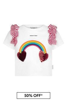 Simonetta Girls White Cotton T-Shirt