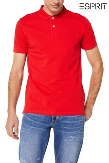 Esprit Red Basic Pique Poloshirt