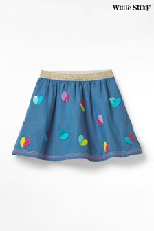 White Stuff Blue Kids Chambray Sequin Heart Skirt