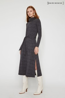 Warehouse Grey Cowl Neck Midi Dress