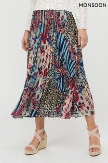 Monsoon Blue Mercy Pleated Skirt
