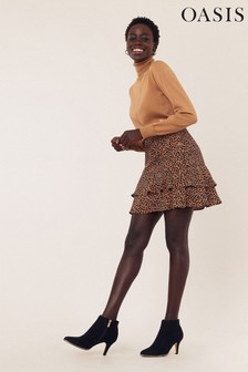 Oasis Brown Textured Animal Mini Skirt