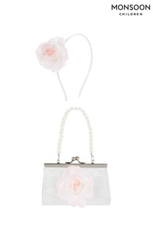 Monsoon Pink Chrissy Flower Mini Bag & Hair Band Set