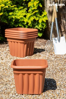 Set of 5 Vista 40cm Square Garden Planters by Wham