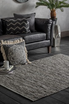 Gallery Direct Grey Otero Leather Rug