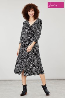 Joules Black Genevieve Black Spot Shirt Dress