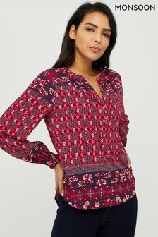 Monsoon Ladies Orange Deanna Print Top
