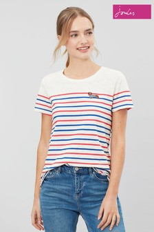 Joules Cream Carley Classic Crew Sweater With Embroidery