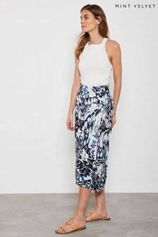 Mint Velvet Blue Alma Print Wrap Skirt
