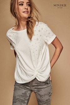 Sonder Studio White Star Burnout Tie Front T-Shirt