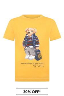 Boys Yellow Cotton Jersey Bear T-Shirt