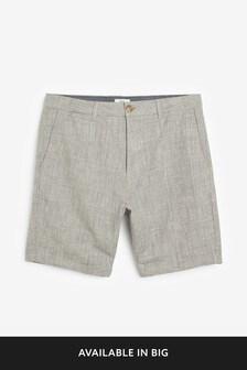 Cotton Linen Check Shorts