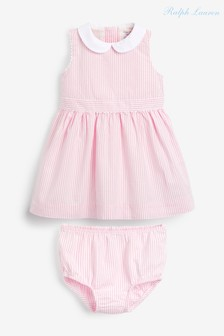 Ralph Lauren Pink Stripe Collar Dress