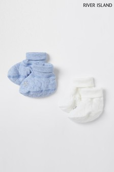 River Island Blue Quilted Booties 2 Pack