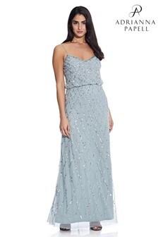 Adrianna Papell Blue Blouson Beaded Dress