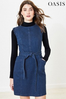 Oasis - Blauwe denim jurk met ruches