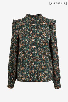 Warehouse Black Paisley Pattern Ditsy Floral Top