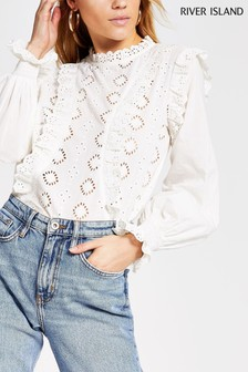 River Island Ecru Long Sleeve Broderie Top