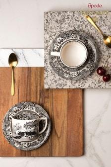 Set of 2 Spode Black Italian Tea Cup, Saucer And Spoon Set