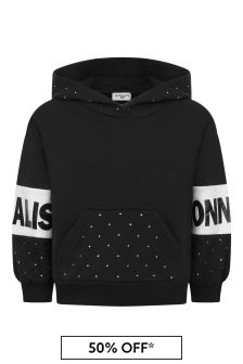 Girls Black Cotton Logo Hooded Sweater