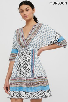 Monsoon Cream Dahlia Print Kaftan Dress