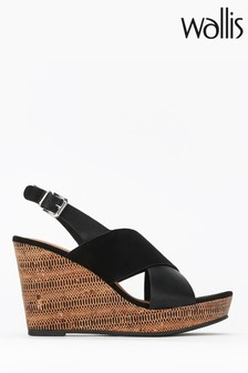 Wallis Spinelli Black Cross Foot Cover Wedges