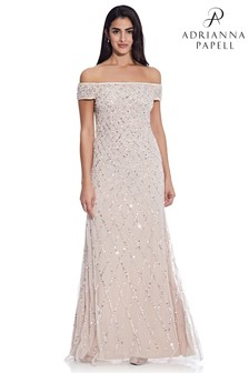 Adrianna Papell Pink Off Shoulder Beaded Dress