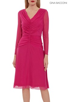 Gina Bacconi Pink Robina Mesh Dress With Ruched Bodice