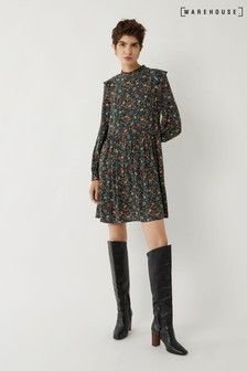 Warehouse Black Ditsy Paisley Frill Mini Dress