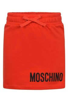 Girls Red Cotton Fleece Skirt