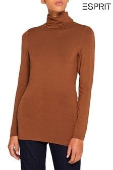 Esprit棕色彈力高翻領T恤