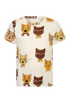 Kids Ivory Organic Cotton Cat Choir T-Shirt