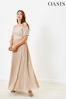 Oasis Lace Bardot Bridesmaid Dress