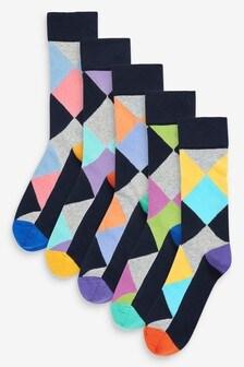 Bright Argyle Socks Five Pack