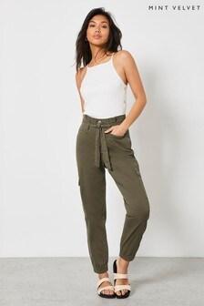 Mint Velvet Khaki Paperbag Cargo Trousers