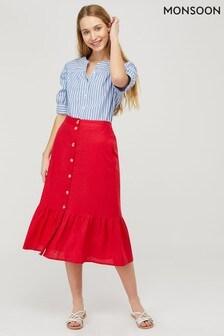 Monsoon Red Monika Linen Tiered Skirt