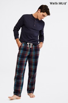 White Stuff Blue Thame Brushed Flannel Check Pyjama Bottoms
