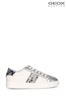 Geox Womens Pontoise Off White/Silver Shoes