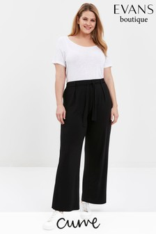 Evans Curve Black Jersey Wide Leg Trousers