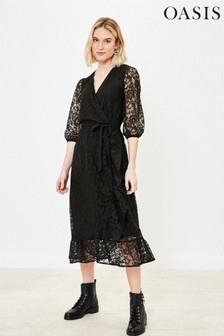 Oasis Black Lace Wrap Midi Dress