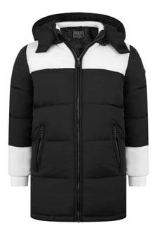 Kids Black Padded Long Coat