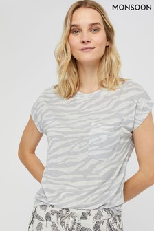 Monsoon Grey Tegan Jersey Print Pyjama Top