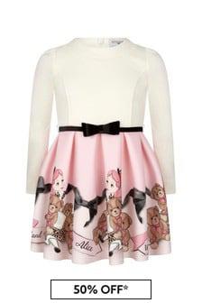 Girls Ivory/Pink Neoprene Alice In Wonderland Dress