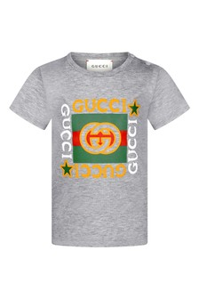 GUCCI Kids Baby Grey Cotton Vintage Logo T-Shirt