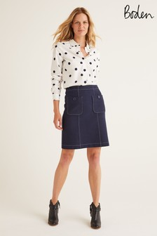 Boden Blue Tallis Stitch Mini Skirt