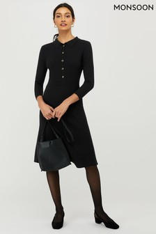 Monsoon Black Harley Henley Dress