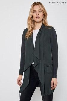 Mint Velvet Green Woven Front Longline Cardigan