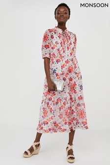 Monsoon Cream Paris Tile Printed Tiered Shirt Dress