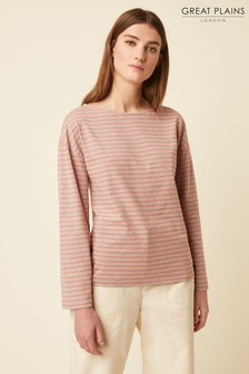 Great Plains Pink Bebe Breton Wide Neck top